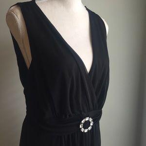 Enfocus Hi-Lo Black Chiffon Maxi Evening Gown 16W